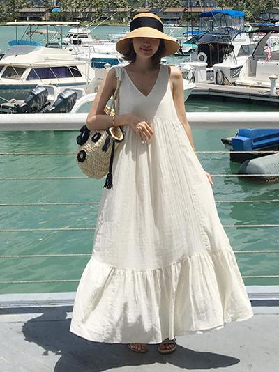 Summer Sleeveless V-necked Long Dress in White Color - Zebrant