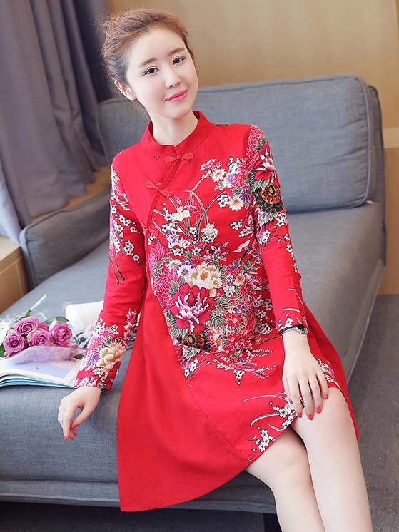 Chinese Traditional Short Dress in Red with Floral Print - Zebrant