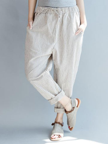 Loose Comfortable Lace-up Haroun pants - Zebrant