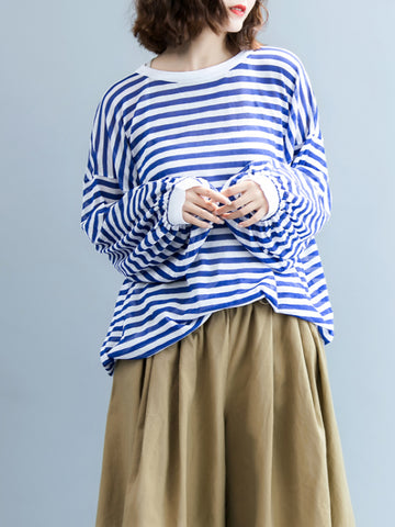 I -shaped Back Knitting Striped Casual Tops - Zebrant