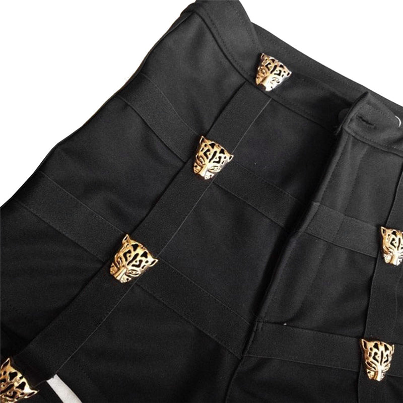 Punk Tiger Garter Black High Waist Shorts - Zebrant