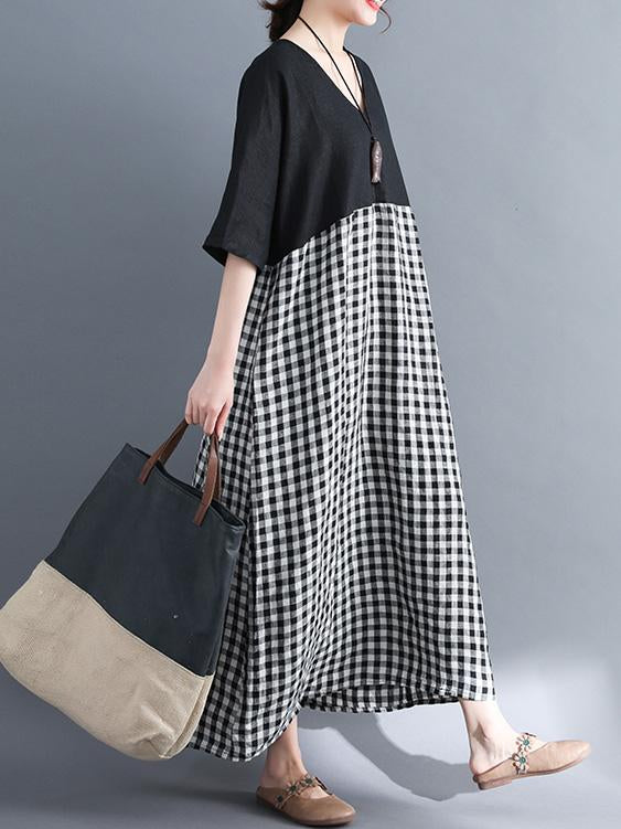 Woman Daily Cotton Long Dress in Black and White Color