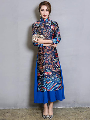 Original Long Dress in Blue Color with Floral Print - Zebrant