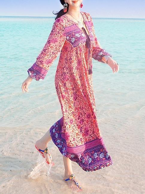 Pink Floral Long Sleeves Maxi Beach Bohemia Dress - Zebrant