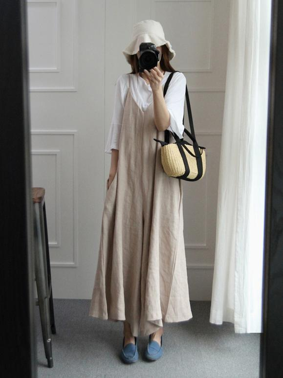 Loosen Cotton Casual Jumpsuit Pants in Beige or Navy-Blue Color