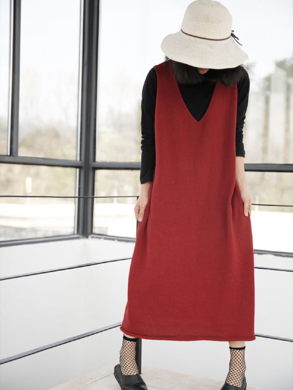 Elegant Solid Knitting V-neck Vest Dress - Zebrant