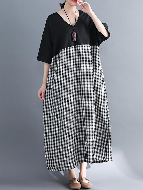 Woman Daily Cotton Long Dress in Black and White Color - Zebrant