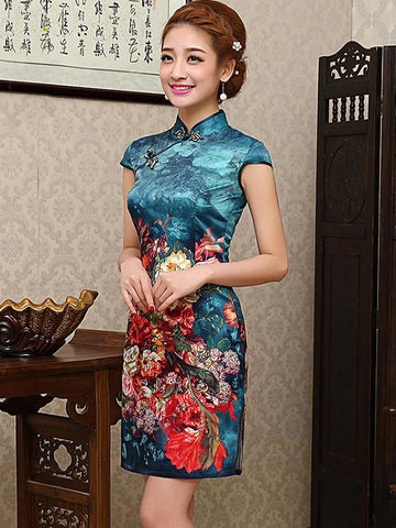 Blue Floral Short Cheongsam Dress - Zebrant