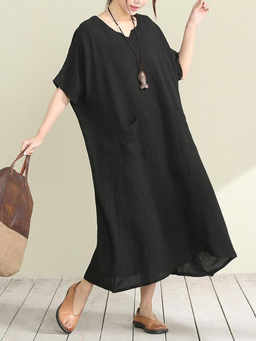 Casual Open-neck Long Dress in Loose Style, Red and Black Color - Zebrant