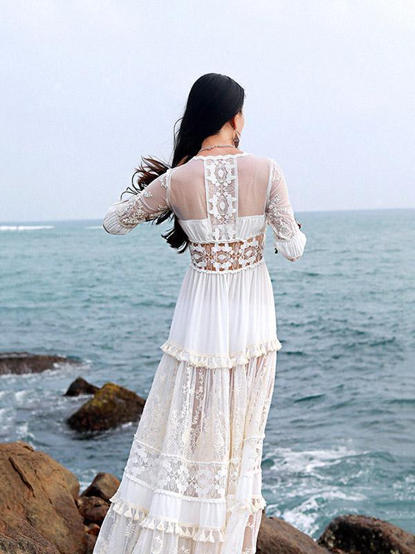 Lace V-neck Hollow Split-joint Maxi Dress