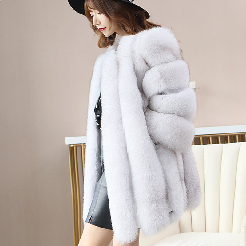 New Elegant Immitation Fox Fur Jacket Women - Zebrant