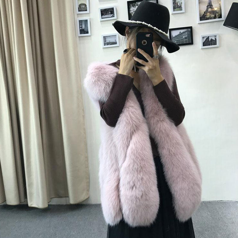 Winter Warm Fashion Women Immitation Faux Fur Vest Outerwear - Zebrant