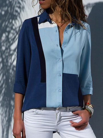 Autumn Fashion Long Sleeve Blouse with Turn Down Collar - Zebrant
