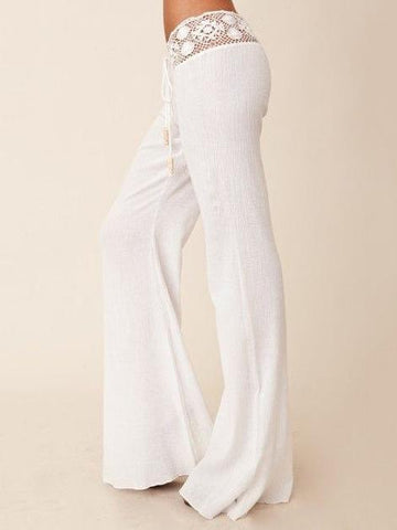Lace White Bodycon Casual Pants - Zebrant
