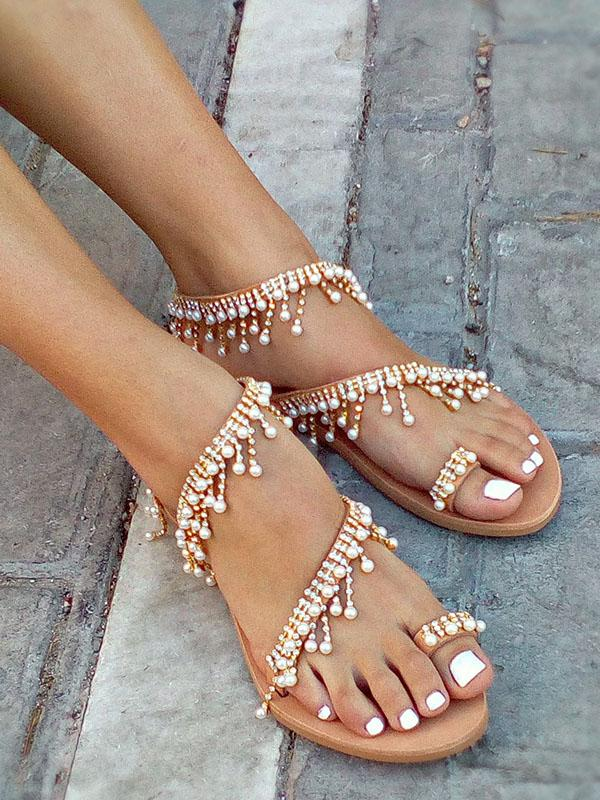 Pretty Handmade Beach Flat Sandals - Zebrant