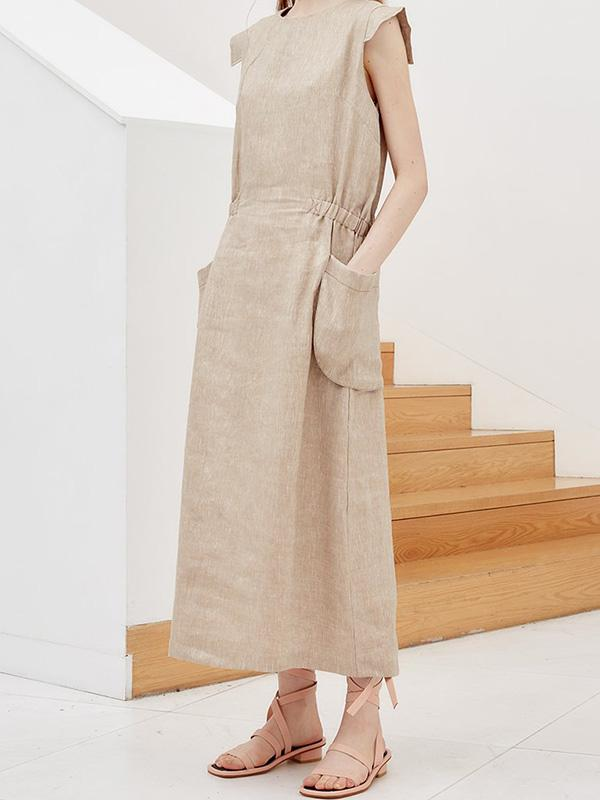 Original Casual Linen Dress with Pockets in Apricot Color - Zebrant