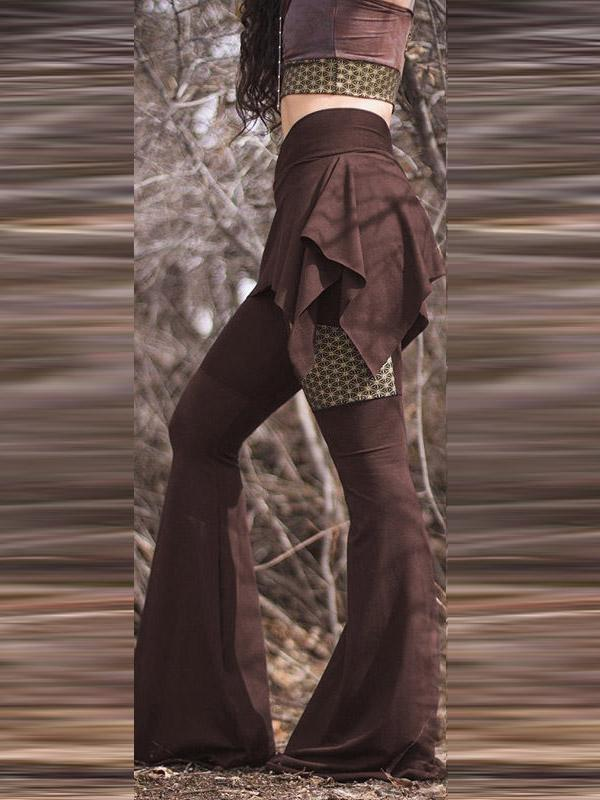 Vintage Cropped False Two Flared Pants - Zebrant
