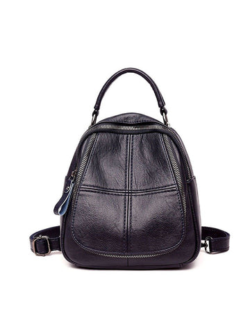 Women Faux Leather Shoulder Bag Solid Color Multi-function Backpack