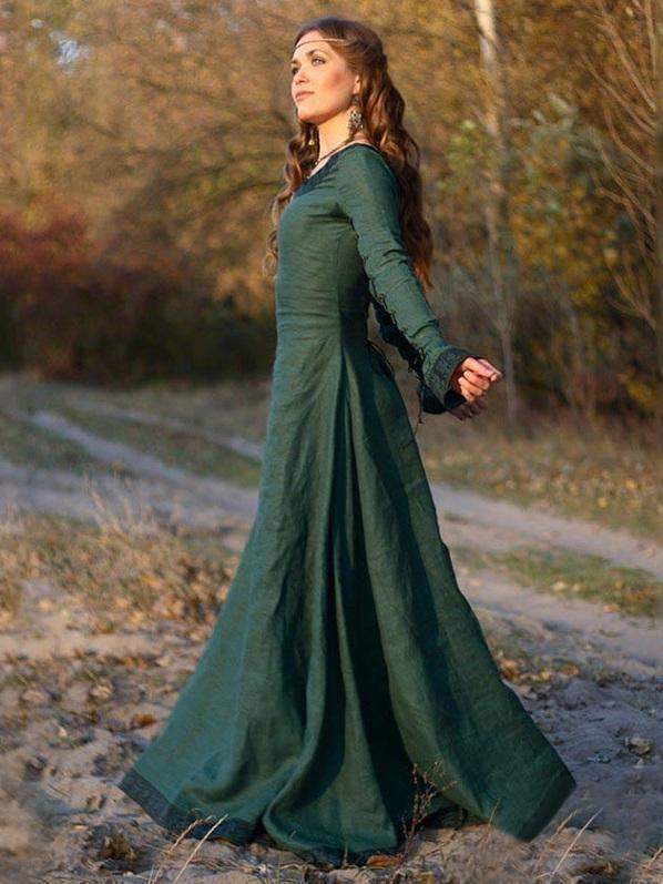 Autumn Vintage Long Sleeves Maxi Dress - Zebrant