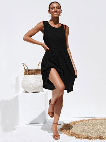 Fashion Round-neck  Sleeveless Pleated Mini Dresses - Zebrant