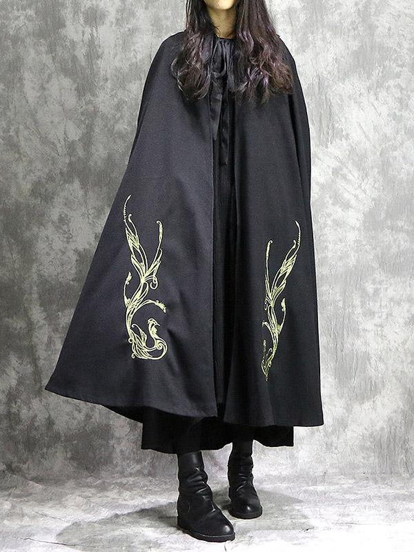 Loose National Phoenix Embroidered With-hat Cape Outwear - Zebrant
