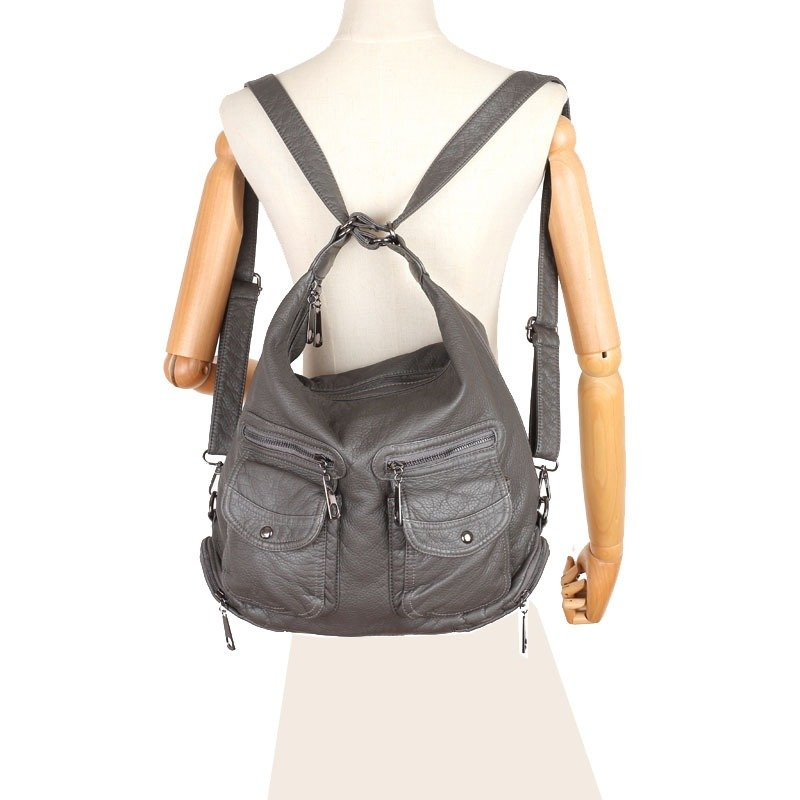 Soft Leather Solid Backpack Multi-carry Shoulder Bag - Zebrant