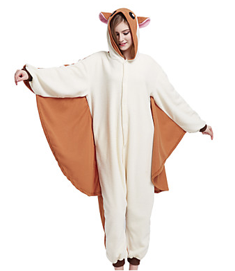 Adults' Kigurumi Pajamas Mouse Squirrel Flying Squirrel Onesie Pajamas Polar Fleece Brown Cosplay - Zebrant
