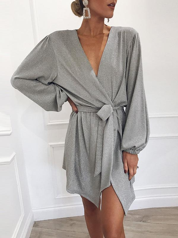 Ruffled Waistband Long Sleeve Dress - Zebrant