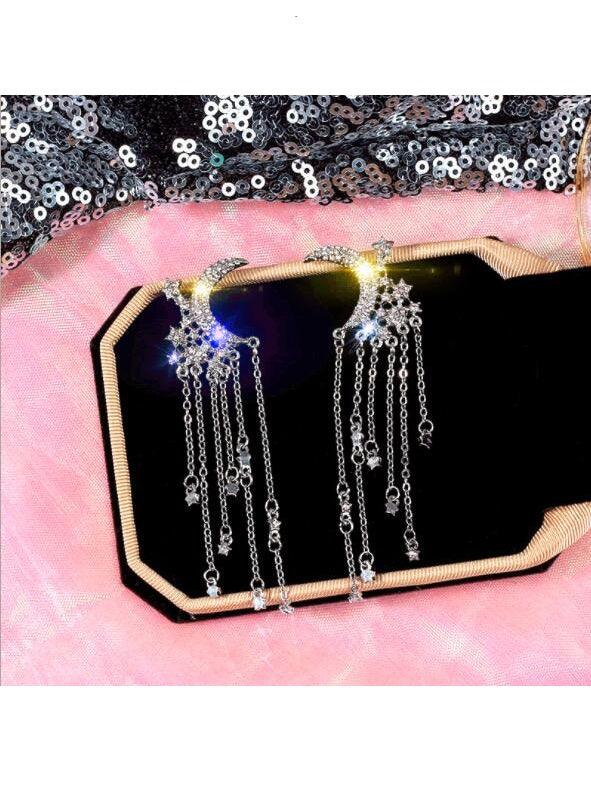 S925 Silver Needle Star Moon Long Earrings