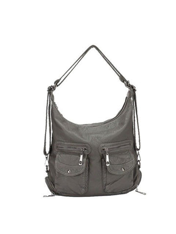 Soft Leather Solid Backpack Multi-carry Shoulder Bag