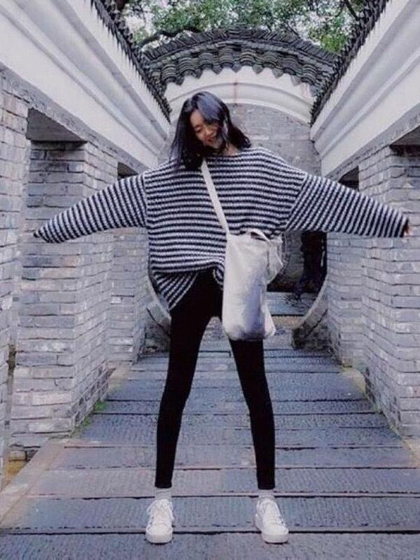 Fashion Striped Long Sleeves Knitting Loose Sweater Tops - Zebrant