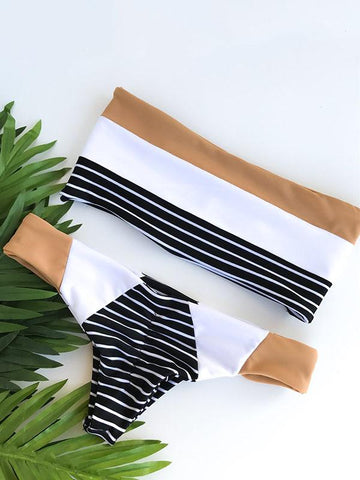 Striped Bandeau Top Bikinis Swimwear - Zebrant