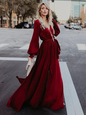 V-neck Long Sleeves Belted Maxi Dress - Zebrant