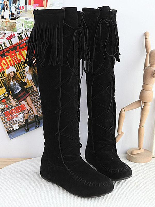 National Style Tasseled Bandage Low-heel Boots Shoes