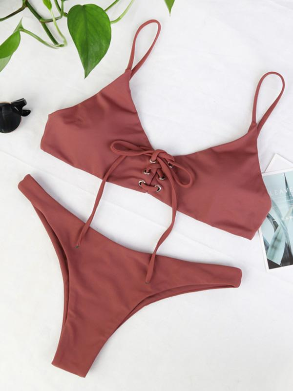 Solid Bandage Fashion Bikinis Swimwear - Zebrant