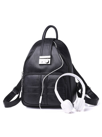 Simple Plain Backpack Travel Rucksack School Shoulder Bag