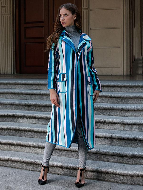 Loose Phlegmatic Color-Stripe Midi Overcoat - Zebrant