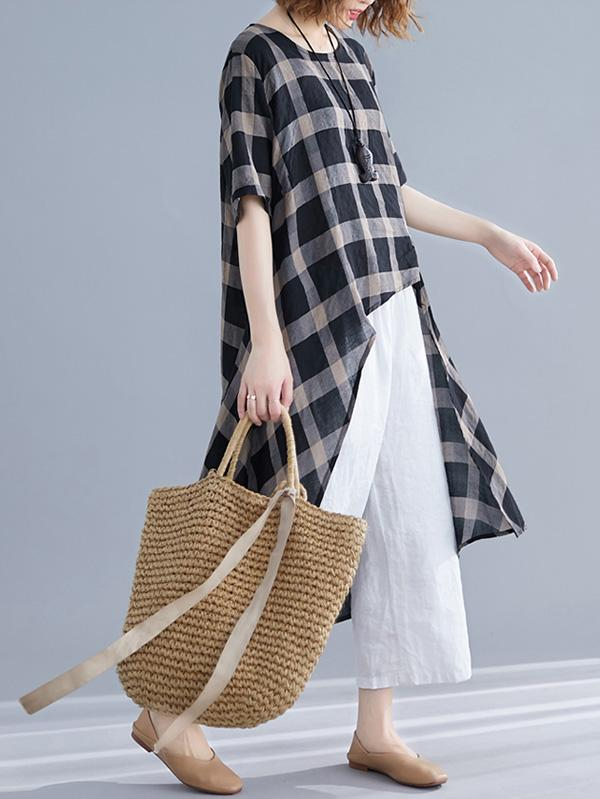 Irregular Forked Tail Plaid Long T-shirt - Zebrant