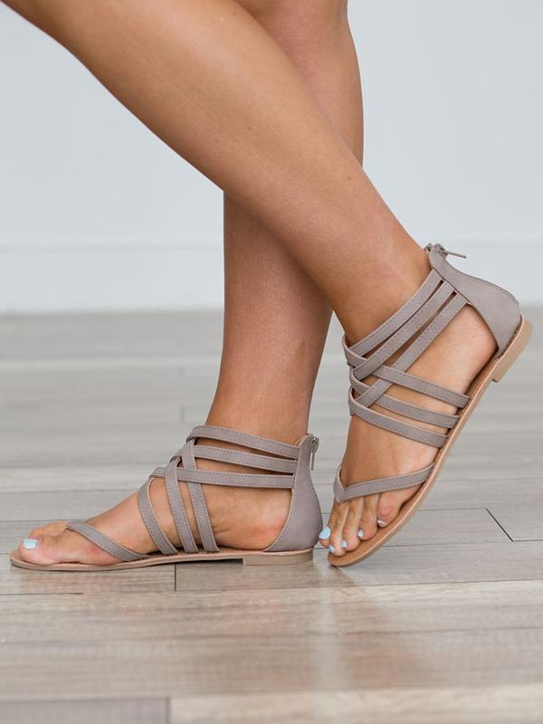 Crossover Strap Low-heel Shoes - Zebrant