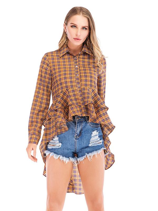 Vintage Plaid Mermaid Cropped Blouses&Shirts Tops - Zebrant