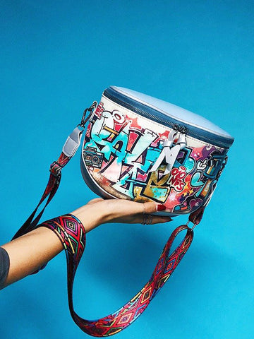 Multi-carry Bag Hip-Hop Graffiti Colorful Crossbody Bag