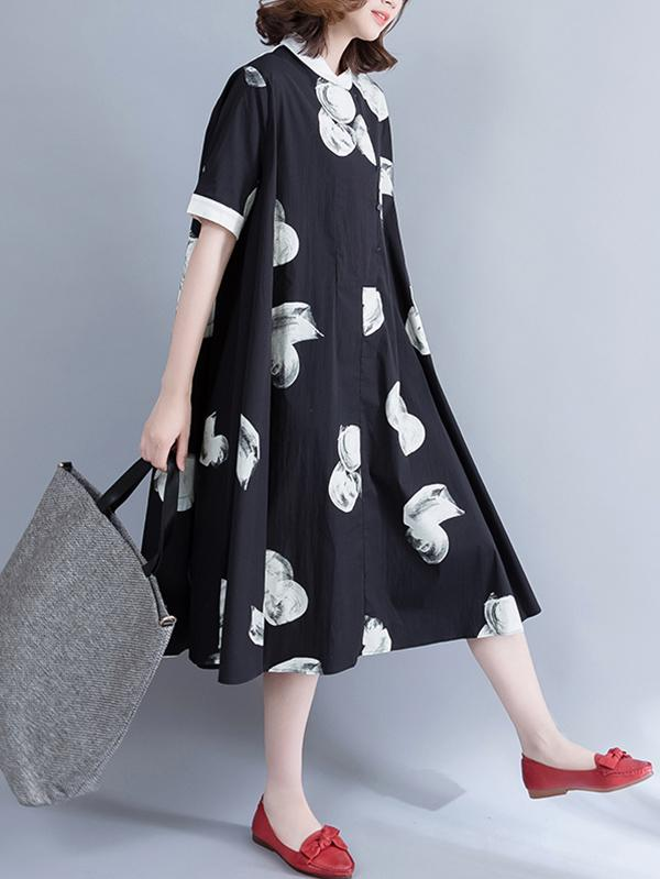 Loose Polka-dot Printed Long Dress - Zebrant