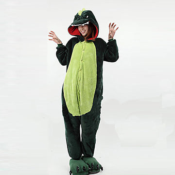 Adults' Kigurumi Pajamas Dinosaur Onesie Pajamas Polar Fleece Green Cosplay - Zebrant