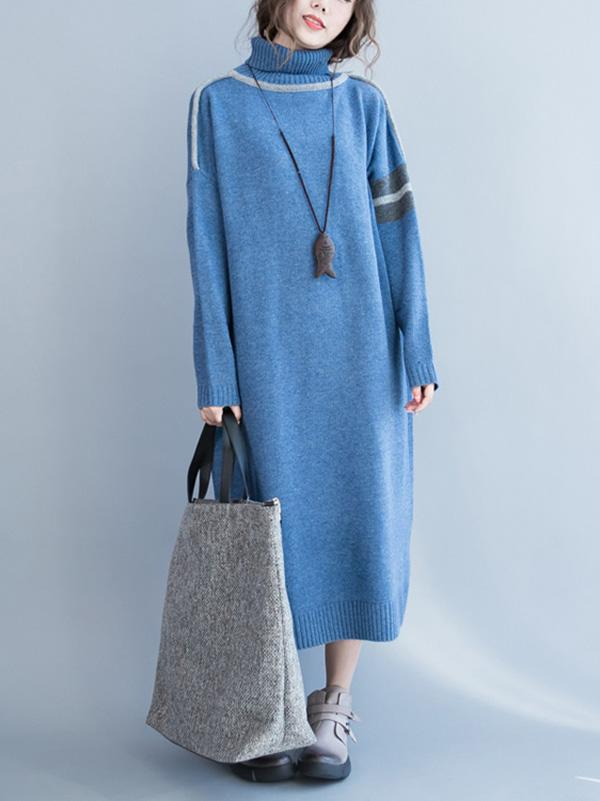 Casual Long Dress in Dark Blue or Light Blue Color - Zebrant