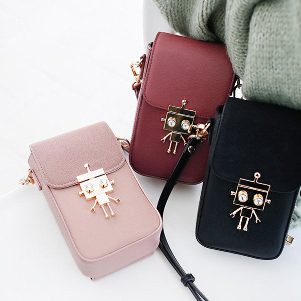 Women Robot Casual Crossbody Bag Solid Phone Bag - Zebrant