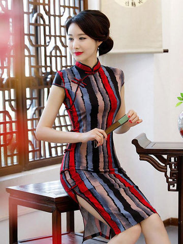 Retro Ink Printed Midi Cheongsam