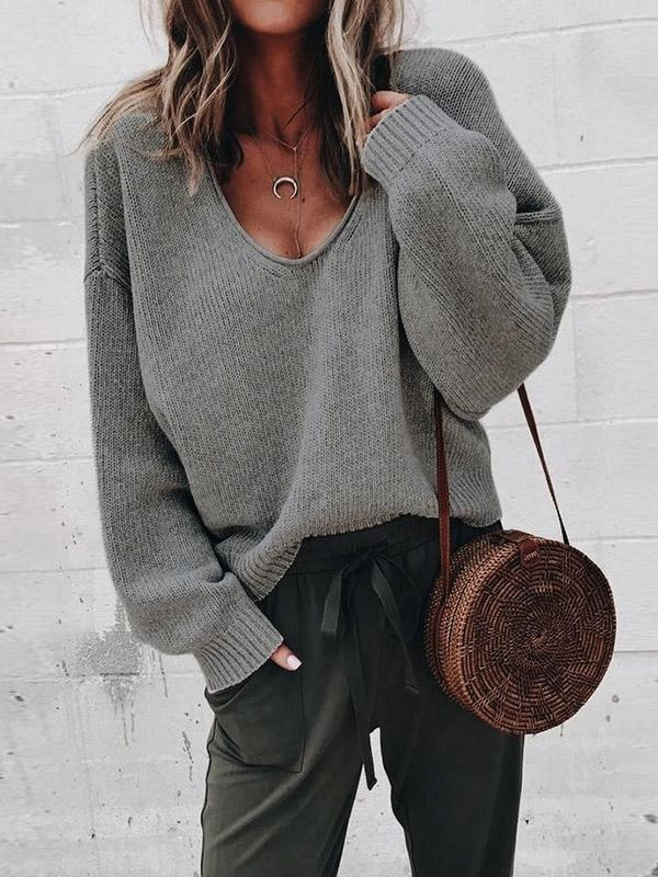 Simple Solid Color V-neck Sweater Tops - Zebrant