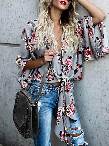 Casual Gray Blouse Shirt with Floral Print - Zebrant