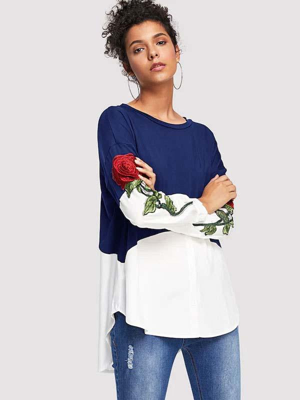 Casual Round-Neck Contrast Color Embroidered Blouses&Shirts Tops - Zebrant