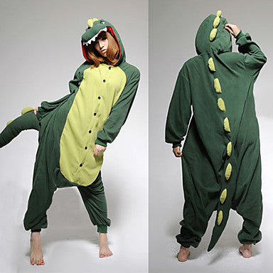 Adults' Kigurumi Pajamas Dinosaur Onesie Pajamas Polar Fleece Green Cosplay